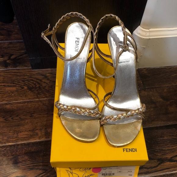 Fendi Shoes - Fendi leather sandals gold and copper size 37.5